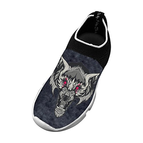 Red Eye Wolf New Fashion Flywire Knitting 3D Printing Casual Shoes For Boy Girl