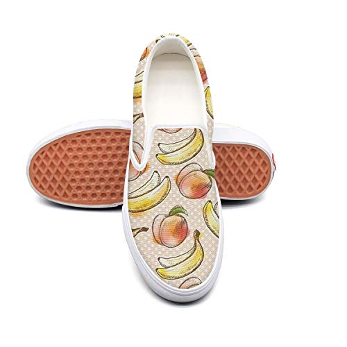 PDAQS Women pattern peach banana loafers skate shoes low top
