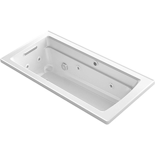 KOHLER K-1949-XHG-0 Archer 66-Inch x 32-Inch Drop-In Whirlpool Bubble Massage Air Bath with Reversible Drain, White ()