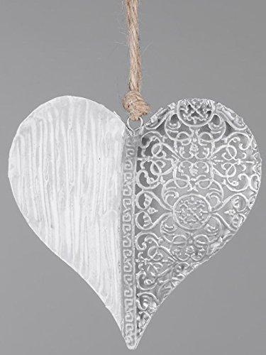 Wunderschöner Dekohänger Hängedeko Fensterdeko Herz aus Metall mit Ornament, weiß silber, 13 cm