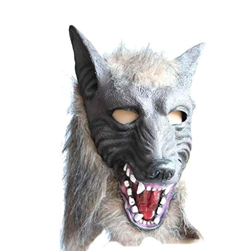 Halloween Mask Adult Cosplay Creepy Scary Wolf Werewolf Head Mask with Faux Fur