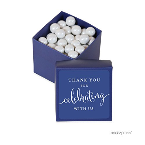 Andaz Press Mini Square Party Favor Box DIY Kit, Thank You for Celebrating With Us, Navy Blue, 20-Pack, For Birthday, Wedding Party Favors, Decorations
