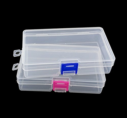 yueton Pack of 2 Plastic Transparent Storage Box Jewelry Craft Nail Art Beads Container Organizer