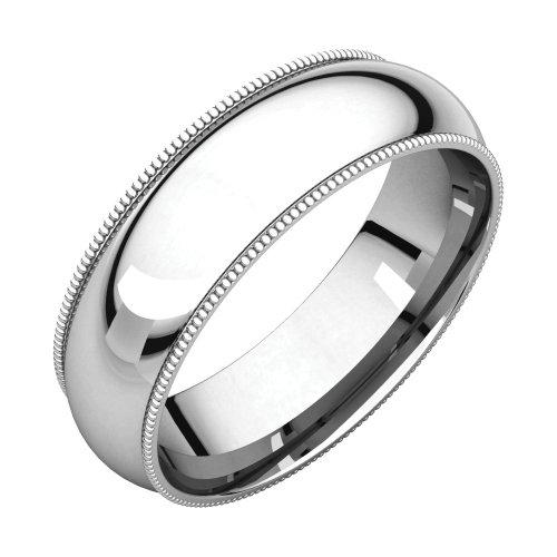 Bonyak Jewelry Palladium 6 mm Milgrain Comfort-Fit Band in Palladium - Size 15