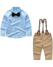Yilaku Bebés 4Pcs Trajes de Bautizo Camisa Bowtie Top + Tirantes Pantalones, Niños Formales Fiesta Conjuntos de Ropa de Bebé Caballero 0-4 años