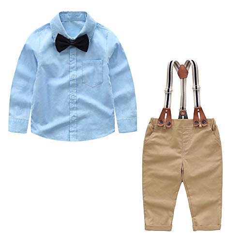 Toddler Boys Clothing Set Gentleman Outfit Bowtie Outfits Suits Suspenders Pants Set(Blue 2-3Years)
