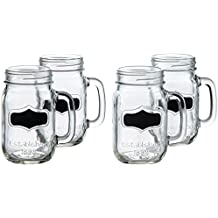 Circleware Yorkshire Mason Jar Mugs with Glass Handles and Fun Chalkboard, Set of 4, 17.5 oz., Clear, includes 2 Pieces of Chalk