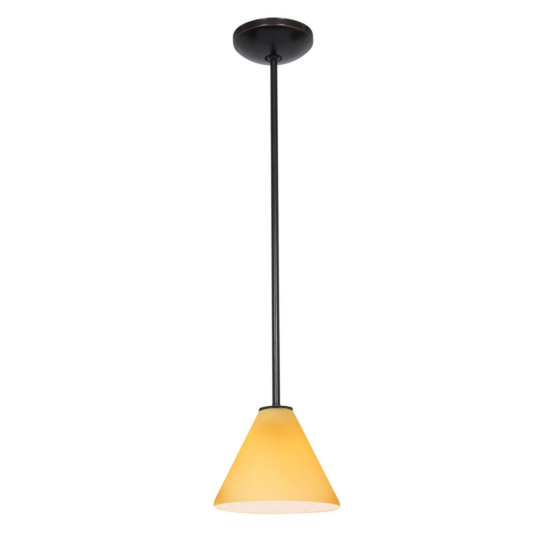 Martini - E26 LED Rod Pendant - Oil Rubbed Bronze Finish - Amber Glass Shade