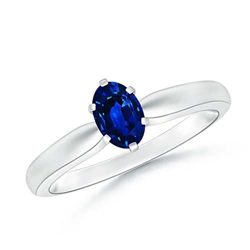 Tapered Shank Oval Solitaire Sapphire Ring in 14K White Gold (6x4mm Blue Sapphire) (14k 6x4mm Oval Sapphire Ring)