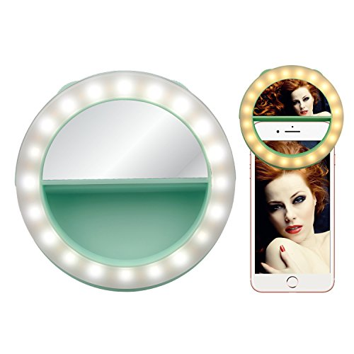 Jade Green Led (Selfie Ring Light for Phone, Ocathnon Ring Light for Camera [Rechargable Battery] Selfie LED Camera Light with Make-up Mirror [40LED] for iPhone Samsung Galaxy Photography Video)