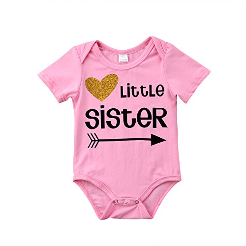 (Big Sister & Little Sister Clothing Family Matching Girls Fitted T-Shirt & Toddler Baby Girls Bodysuit Set (Little Sister Bodysuit, 0-3M))
