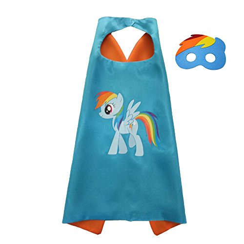 FASHION ALICE Kids Children's My Little Pony Hero Superman CAPE & MASK SET,Halloween Costume Cloak for Child (Rainbow
