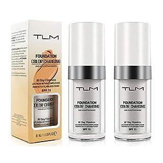 (2 Pcs) Colour Changing Foundation, Flawless Makeup Liquid Foundation, Warm Skin Tone Foundation, Base Nude Face Moisturizing Liquid Cover Concealer