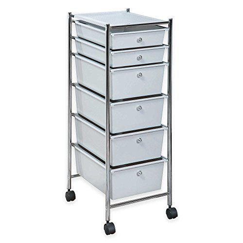 HomeCrate 6 Drawer Rolling Storage Cart - Light Gray Drawers, Chrome Frame price