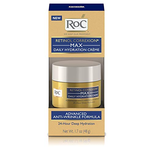 RoC Retinol Correxion Max Daily Hydration Anti-Aging Crème for 24-Hour Deep Hydration, Advanced Anti-Wrinkle Moisturizer Made with Retinol & Hyaluronic Acid, 1.7 -
