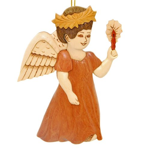 (Wood Ornament of an Angel Holding a Candle)