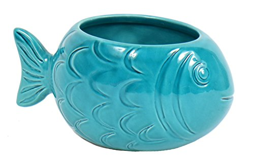 Shaped Teal Blue Fish Embossed Stoneware Planter 6.5 Inches