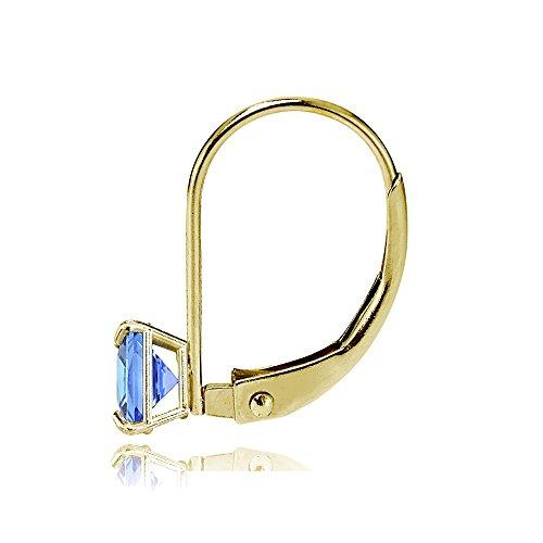 Bria Lou 14k Yellow Gold Tanzanite Gemstone 6mm Square-Cut Leverback Drop Earrings by Bria Lou (Image #1)