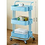 Kitchen shelf HUO 3-Layer Service Trolley Handle Metal Mesh Rolling Practical Organization Trolley Rack-3color-453882cm Multifunction (Color : Blue)