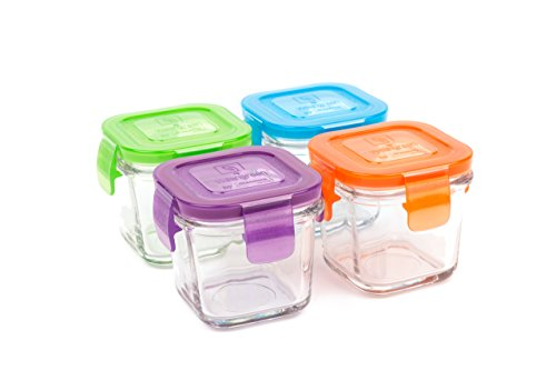 Wean Green Glass Baby Food Storage Containers, Wean Cube 4 Ounces, Garden Pack (4 Pack) ()