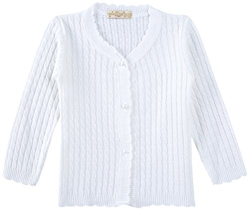 Lilax Baby Girls' Cable-Knit Cardigan Sweater 6M White