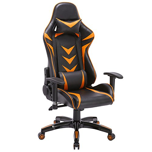 High-Back Swivel Gaming Chair Black & Orange With Lumbar Sup