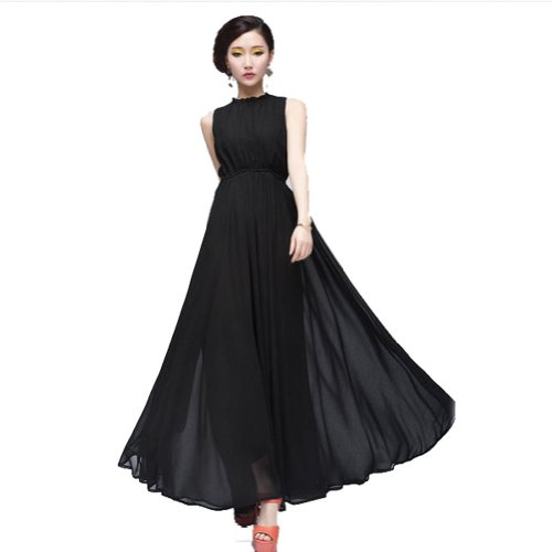 Zehui Womens Maxi Long Chiffon Beach Ball Gown Backless Evening Cocktail Party Dress