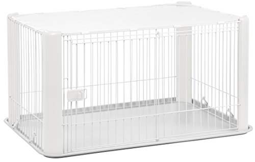 Cheap IRIS Large Wire Dog Crate with Mesh Roof, White