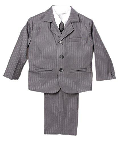 mal Dressy Pin Stripe Suit 5 Piece Shirt Ties Vest Pants Jacket (4, Grey) (Grey Stripe 3 Button Suit)