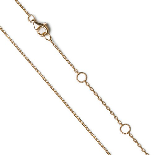 A+O 18-20 inch Adjustable Cable Chain Necklace in .925 Sterling Silver, Gold Vermeil, Rose Gold Vermeil (16-18in (41-46cm) - Gold)