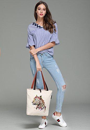 So'each Women's Animal Leopard Art Graphic Canvas Handbag Tote Shoulder Bag