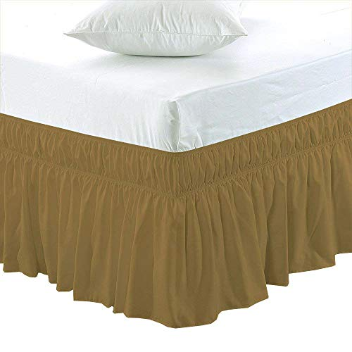 Black Friday & Cyber Monday Deals ! Ruffled Wrap Around Bed Skirt-30 Inches Drop Easy Fit Olympic Queen Size Taupe Solid (Available for All Bed Sizes and ()