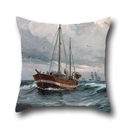 [18 X 18 Inches / 45 By 45 Cm Oil Painting Carl Locher - The Lightship At Skagen Reef Pillow Covers,each Side Is Fit For Him,adults,chair,home,dinning Room,kids] (Crosby Halloween Costume)