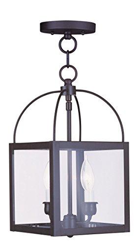 Livex Lighting 4041-07 Milford 2-Light Convertible Hanging Lantern/Ceiling Mount, Bronze