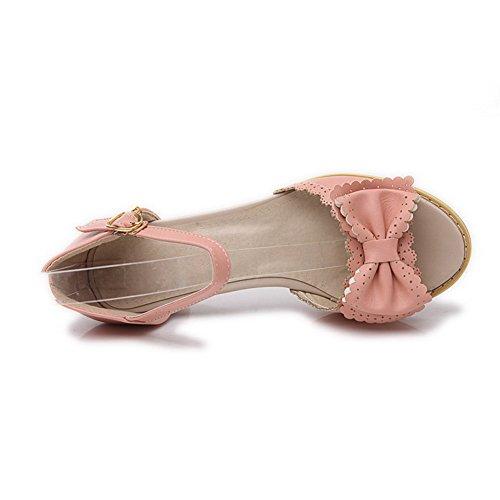 AllhqFashion Mujeres Sólido Hebilla Puntera Abierta Tacón ancho Sandalias de vestir con Lazos Rosa