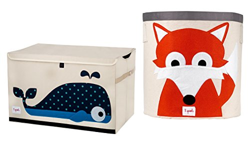3 Sprouts Toy Chest with Storage Bin, Whale/Fox