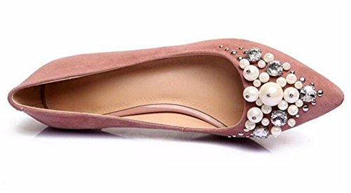 scamosciato 35 a Festa pompe Vestito Da GAOGENX Heel Perla Kitten da perle Scarpe EU40 di genuino 41 donna Awwx6IqZ