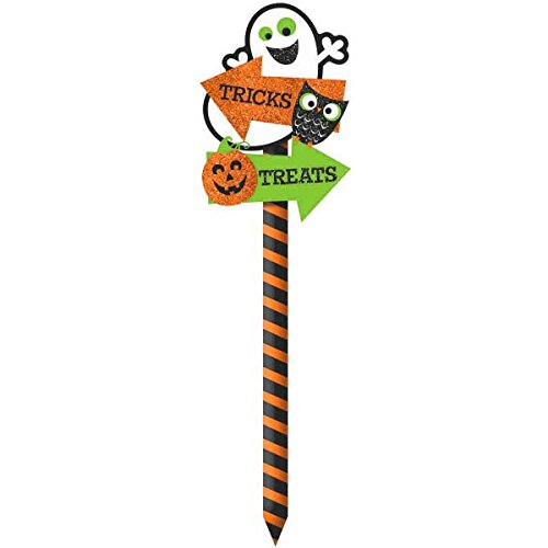 Amscan Family Friendly Pumpkin Yard Sign Halloween Trick or Treat Party Outdoor Decoration, Multicolor, 21 1/2