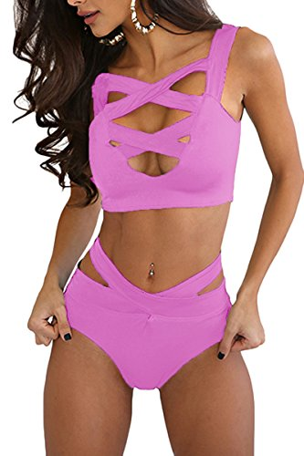 Prograce Women's Sexy Criss Cross High Waisted Bandage 2PCS Bikini Set, S Violet Purple