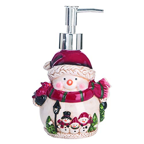 Transpac Snowman Winter White 7 x 4 Dolomite Ceramic Christmas Countertop Soap Dispenser (Soap Christmas Dispensers)