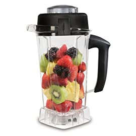 Vitamix Container, 64 oz. -60865, 64 Ounce, Clear 1 Large 64-ounce container designed for the Vita-Mix appliance Hardened stainless-steel blades ensure smooth blending Comfortable nonslip-grip handle; drip-free spout; raised calibrations
