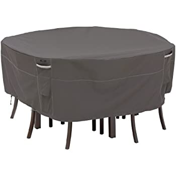 amazon com classic accessories 55 158 045101 ec ravenna round rh amazon com large round table chairs outdoor furniture cover large round outdoor furniture cover