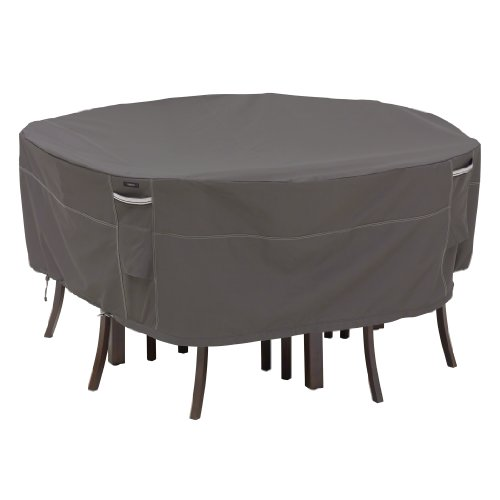 Classic Accessories Ravenna Round Patio Table & Chair Set Cover - Premium Outdoor Furniture Cover with Durable and Water Resistant Fabric, Medium - Outdoor Round Furniture Cover