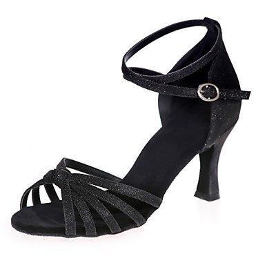 de rendimiento mujer práctica directa Misteriosa purpurina acampanado sandalias de Latina de zapatos baile sparkling azul la talón glitter brillante indoorblack wFqaCqxv