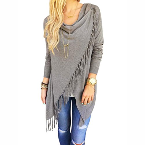 Sunward Fashion Womens Tassel Slash Tops Long Sleeve T-shirt Blouse Sweatshirt (L, Grey)