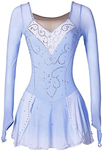 Skating Queen Figure Skating Dress for Girls Women Ice Skating Competition Performance Costume Rhinestone Handmade Professional Skating Wear Quick Dry Long Sleeves Purple Fuchsia
