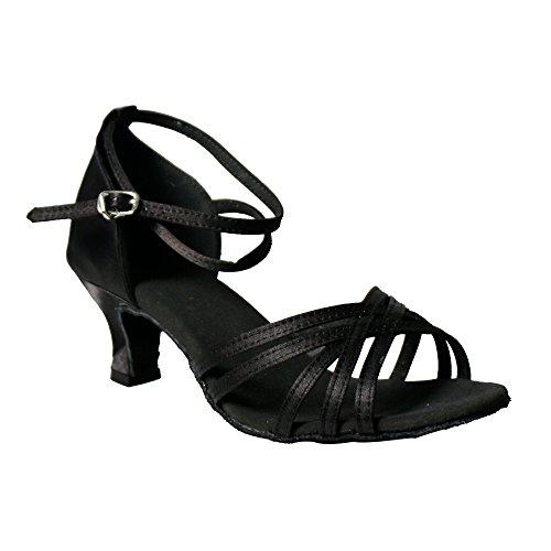 YFF Mujer Zapatos de Baile latino sandalias de satén Damas Partido Social Black