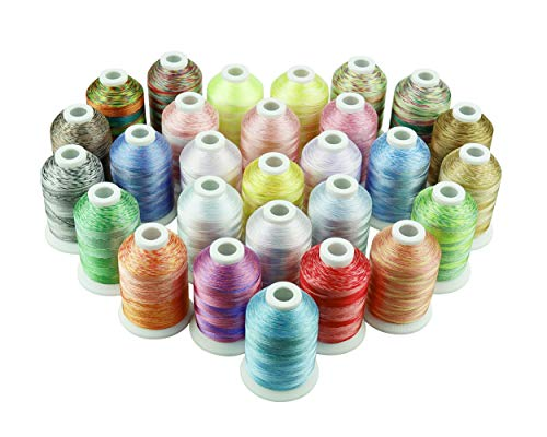 (Simthreads 28 Variegated Color Embroidery Machine Thread 1100 Yards Each for Janome Brother Pfaff Babylock Singer Bernina Husqvaran and Most Sewing Embroidery Machines)
