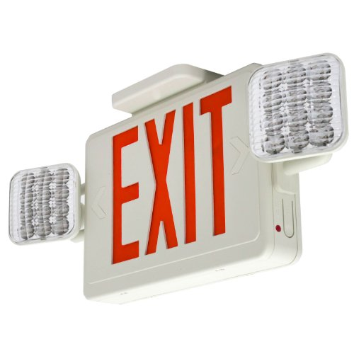 Lfi Lights Hardwired Red Led Combo Exit Sign Emergency