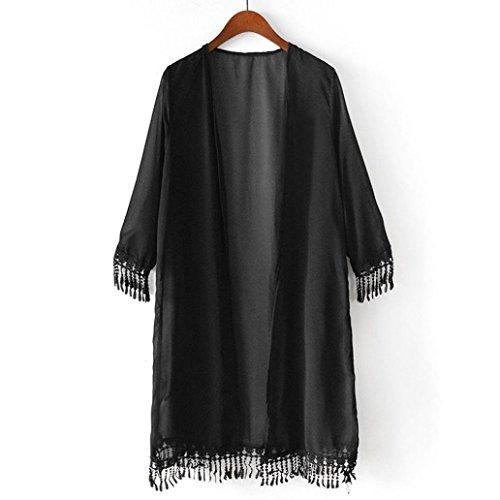 Women Girl Chiffon Kimono Cardigan Coat, Zulmaliu Summer Long Loose Jacket Blouse for Beach, Irregular Long Sleeve Wrap Casual Coverup Tops Outwear (Black) (Cardigan Girls Long)